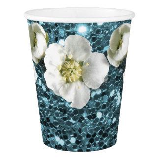 Copo De Papel Sequin do jasmim da flor do brilho do azul de