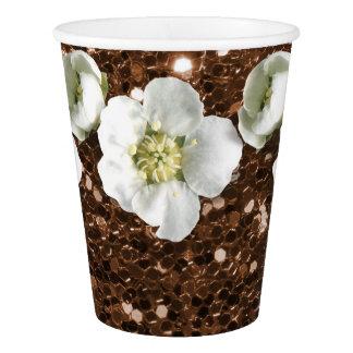 Copo De Papel Sequin rústico marrom do jasmim da flor do brilho