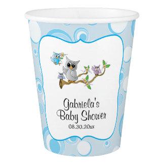 Copo De Papel Tema do chá de fraldas da coruja do bebê azul