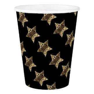 Copo De Papel Teste padrão de estrelas preto elegante do Natal