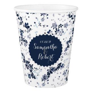 Copo De Papel Teste padrão floral do Clematis do azul de índigo