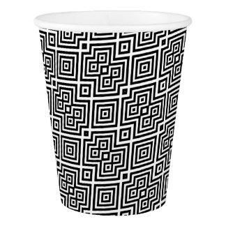 Copo De Papel Teste padrão geométrico abstrato - preto e branco.