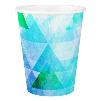 Copo De Papel Teste padrão geométrico da aguarela azul