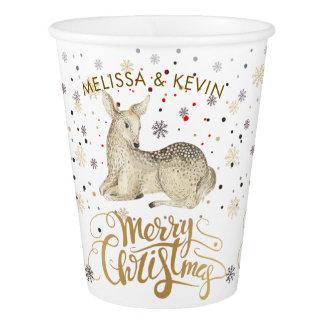 Copo De Papel Tipografia dos cervos & do Feliz Natal do Natal