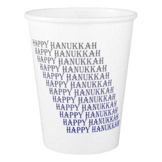 Copo De Papel Tipografia feliz das cinzas azuis de Hanukkah