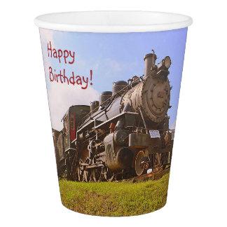 Copo De Papel Trem do vapor do vintage do aniversário