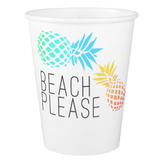 "Copo De Papel verão na moda ""praia por favor"", abacaxi colorido"