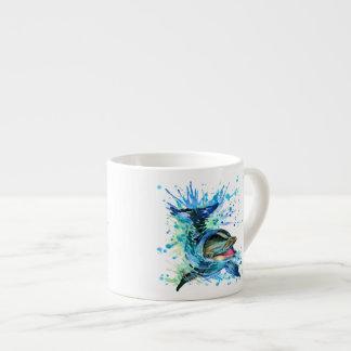 Copo do café do golfinho da aguarela xícara de espresso