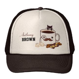 Copo e gato de café bonito do bigode - personaliza boné