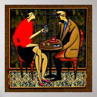 Copo vermelho do azul do copo da camisola vermelha poster