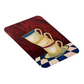 """Copos de café coloridos no ímã vermelho 3"""" da arte"""
