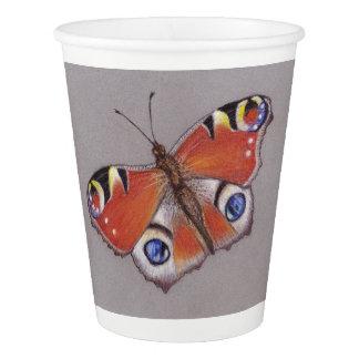 Copos de papel com design da borboleta de pavão