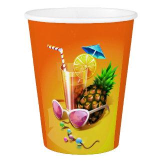 Copos de papel da bebida tropical