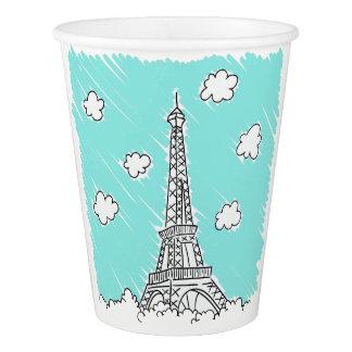 Copos de papel da torre Eiffel