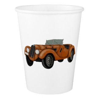 Copos de papel do carro clássico do Roadster