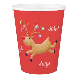 Copos de papel do feriado clássico de Rudolph