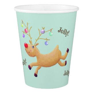 Copos de papel do feriado de Rudolph