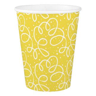 Copos de papel do partido festivo amarelo e branco
