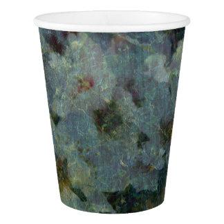 Copos de papel impressionista do pomar azul macio