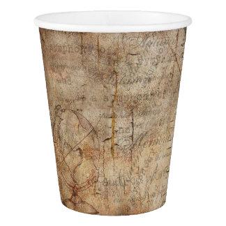 Copos de papel rústicos de Brown do globo antigo
