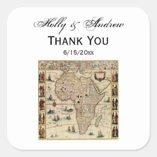 Cor antiga do fundo do mapa DIY de África Adesivo Quadrado