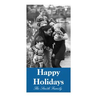 Cor azul caritativa influente customizável cartão com foto