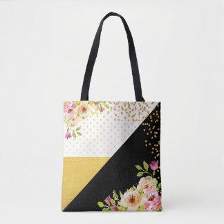 Cor-Bloco floral moderno da folha de ouro do preto Bolsas Tote
