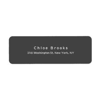 Cor cinzenta original elegante lisa moderna etiqueta endereço de retorno