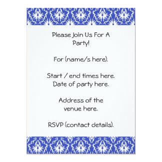 Cor damasco à moda. Azul e branco Convites Personalizado