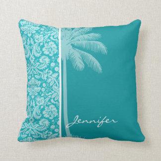 Cor damasco azul esverdeado da palma do verão travesseiro