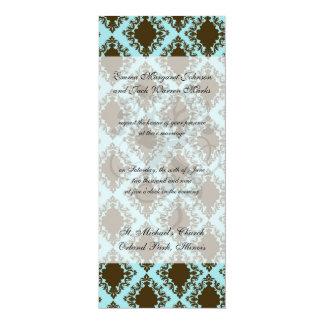 cor damasco bonita do diamante marrom e azul convite personalizado