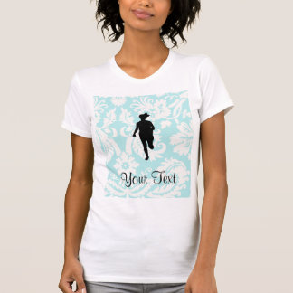 Cor damasco Corredor da menina Tshirts
