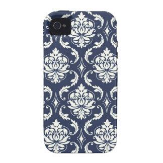Cor damasco do branco dos azuis marinhos do capa para iPhone 4/4S