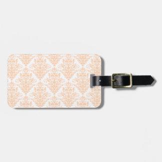 Cor damasco elegante cor-de-rosa e branca coral etiqueta de bagagem