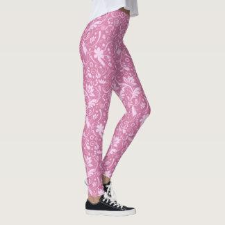Cor damasco floral cor-de-rosa leggings
