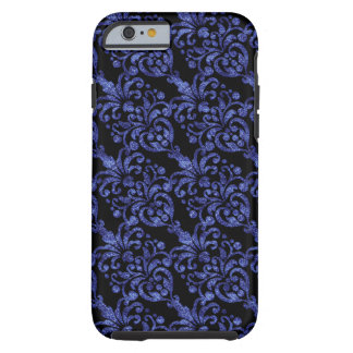 Cor damasco Glittery azul do Victorian feminino Capa Tough Para iPhone 6