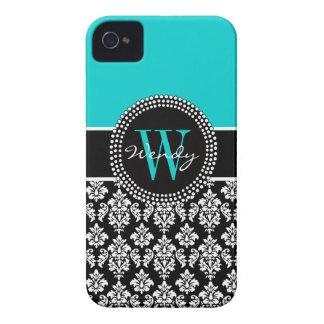 Cor damasco inicial personalizada do preto do Aqua Capinha iPhone 4