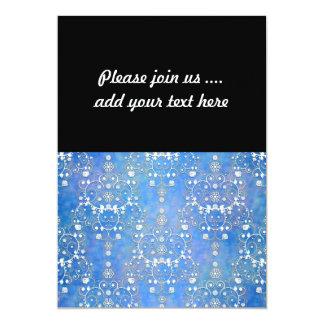 Cor damasco laçado azul e branca convite 12.7 x 17.78cm