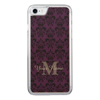 Cor damasco monogrammed roxa capa iPhone 7 carved