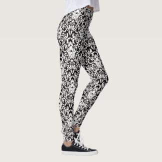 Cor damasco preto e branco elegante leggings