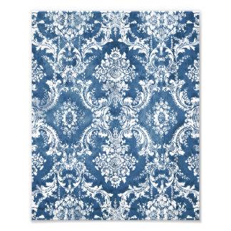Cor damasco suja azul da safira impressão fotográficas