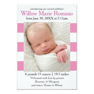 Cor-de-rosa/branco listra a foto - anúncio do convite 8.89 x 12.7cm