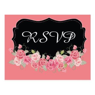 Cor-de-rosa de RSVP e preto bonito Cartão Postal