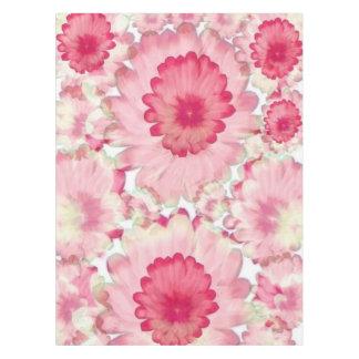 Cor-de-rosa florido e branco toalha de mesa
