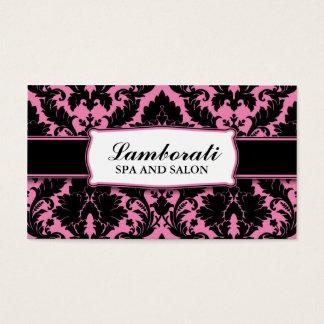 Cor-de-rosa moderno elegante do damasco e preto cartão de visitas