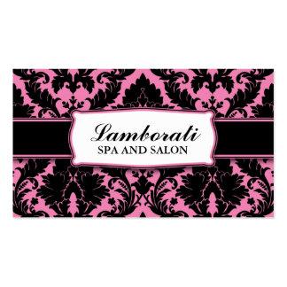 Cor-de-rosa moderno elegante do damasco e preto fl modelos cartões de visitas