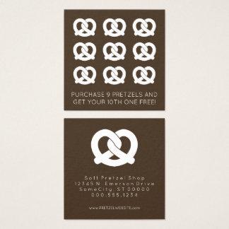 cor do selo da lealdade dos pretzeis macios cartão de visitas quadrado