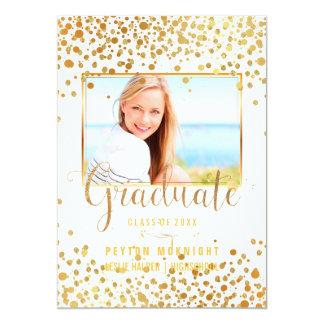 Cor dos confetes Graduation/DIY do ouro do falso Convite 12.7 X 17.78cm