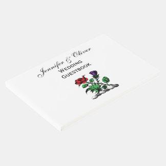 Cor heráldica cor-de-rosa & do cardo da brasão da livro de visitas