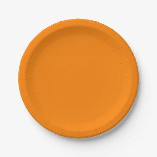Cor sólida simplesmente alaranjada prato de papel